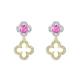 Round Pink Sapphire Sterling Silver Earring with Diamond