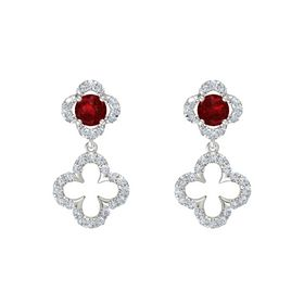 Round Ruby Sterling Silver Earring with Diamond