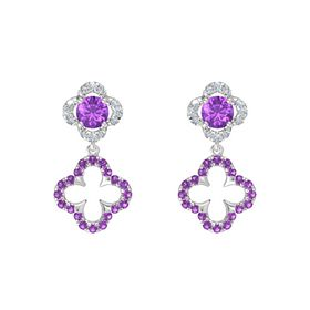 Round Amethyst Sterling Silver Earring with Amethyst and Diamond