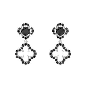 Round Black Diamond Sterling Silver Earring with Black Diamond