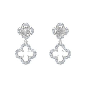 Round Rock Crystal Sterling Silver Earrings with Diamond