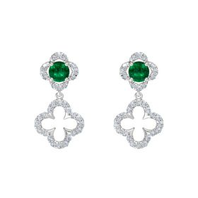 Round Emerald Sterling Silver Earrings with Diamond