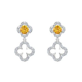 Round Citrine Sterling Silver Earring with Diamond