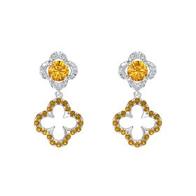Round Citrine Sterling Silver Earring with Citrine and Diamond