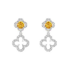 Round Citrine Sterling Silver Earring with White Sapphire
