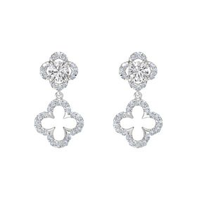 Round White Sapphire Sterling Silver Earring with Diamond