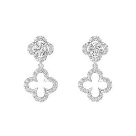 Round White Sapphire Sterling Silver Earring with White Sapphire