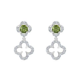 Round Green Tourmaline Sterling Silver Earrings with Diamond