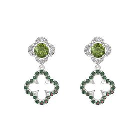 Round Green Tourmaline Sterling Silver Earring with Alexandrite and Rock Crystal