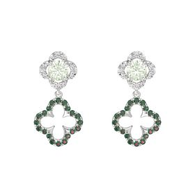 Round Green Amethyst Sterling Silver Earring with Alexandrite and White Sapphire