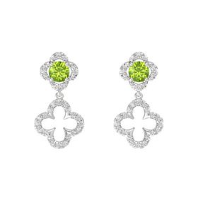 Round Peridot Sterling Silver Earrings with White Sapphire