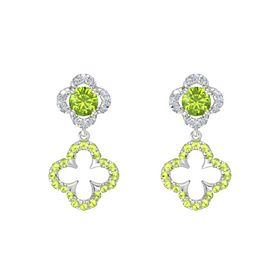 Round Peridot Sterling Silver Earring with Peridot and Diamond