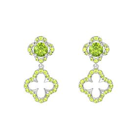Round Peridot Sterling Silver Earrings with Peridot