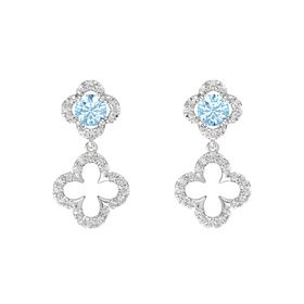 Round Aquamarine Sterling Silver Earring with White Sapphire
