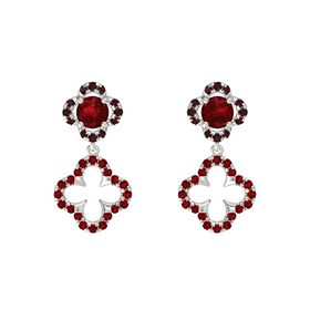 Round Ruby Sterling Silver Earring with Ruby and Red Garnet