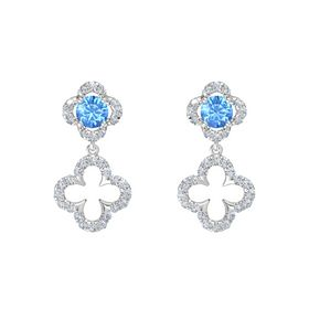 Round Blue Topaz Sterling Silver Earrings with Diamond