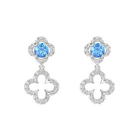 Round Blue Topaz Sterling Silver Earrings with White Sapphire