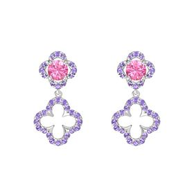 Round Pink Tourmaline Sterling Silver Earring with Iolite