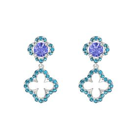 Round Tanzanite Sterling Silver Earring with London Blue Topaz