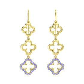 14K Yellow Gold Earring with Tanzanite