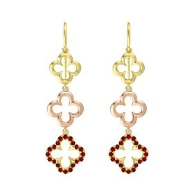 18K Yellow Gold Earrings with Ruby