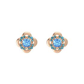 Round Blue Topaz 14K Rose Gold Earring with London Blue Topaz