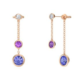 Round Amethyst 14K Rose Gold Earring with Tanzanite and Diamond