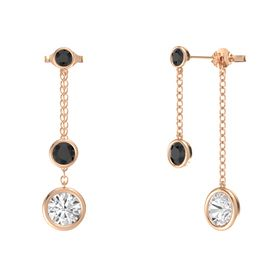 Round Black Diamond 14K Rose Gold Earring with White Sapphire and Black Diamond