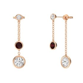 Round Red Garnet 14K Rose Gold Earring with White Sapphire