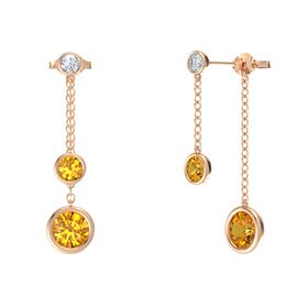 Round Citrine 14K Rose Gold Earrings with Citrine & Diamond