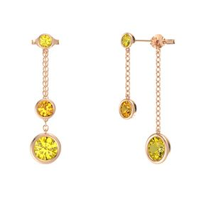 Round Citrine 14K Rose Gold Earrings with Yellow Sapphire
