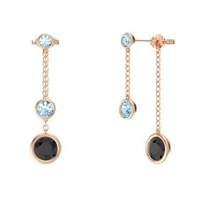 Round Aquamarine 14K Rose Gold Earring with Black Diamond and Aquamarine