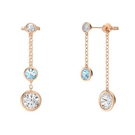 Round Aquamarine 14K Rose Gold Earring with White Sapphire and Diamond