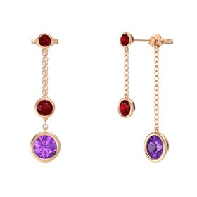 Round Ruby 14K Rose Gold Earrings with Amethyst & Ruby