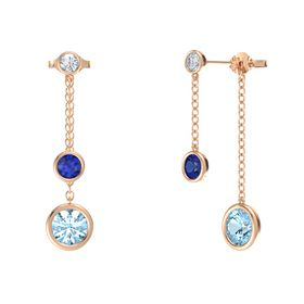 Round Sapphire 14K Rose Gold Earrings with Aquamarine & Diamond