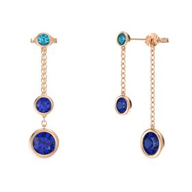 Round Sapphire 14K Rose Gold Earrings with Sapphire & London Blue Topaz