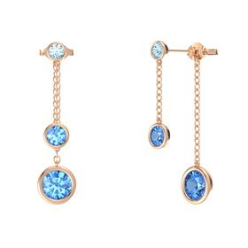 Round Blue Topaz 14K Rose Gold Earring with Blue Topaz and Aquamarine