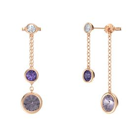 Round Iolite 14K Rose Gold Earring with Rose de France and Diamond