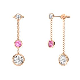 Round Pink Tourmaline 14K Rose Gold Earring with White Sapphire and Diamond
