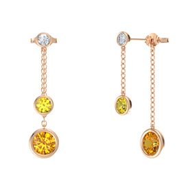 Round Yellow Sapphire 14K Rose Gold Earrings with Citrine & Diamond