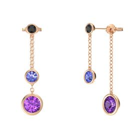 Round Tanzanite 14K Rose Gold Earring with Amethyst and Black Diamond