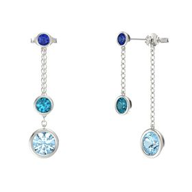 Round London Blue Topaz 14K White Gold Earrings with Aquamarine & Sapphire