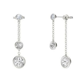 Round Rock Crystal 14K White Gold Earring with White Sapphire and Diamond