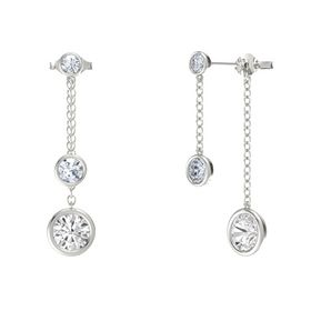 Round Diamond 14K White Gold Earrings with White Sapphire & Diamond