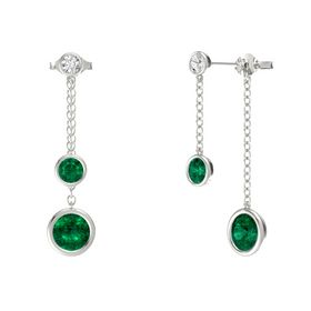 Round Emerald 14K White Gold Earring with Emerald and White Sapphire