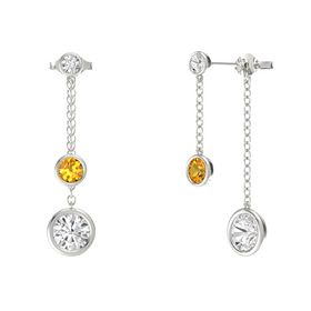 Round Citrine 14K White Gold Earring with White Sapphire