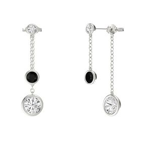 Round Black Onyx 14K White Gold Earrings with White Sapphire