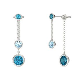 Round Aquamarine 14K White Gold Earrings with London Blue Topaz