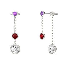 Round Ruby 14K White Gold Earrings with White Sapphire & Amethyst