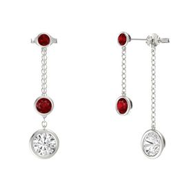 Round Ruby 14K White Gold Earring with White Sapphire and Ruby